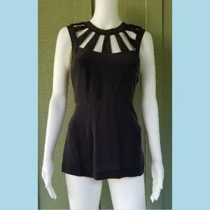NWT WALTER Black Sueded Silk Beaded Shoulder Top
